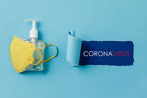 Coronavirus prevention medical surgical masks and hand sanitizer gel for hand hygiene corona virus protection